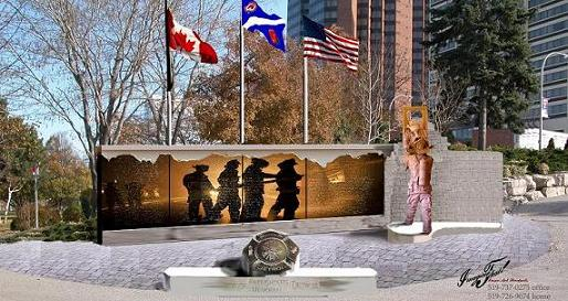 Artist's rendition of the Windsor Detroit Firefighters Memorial